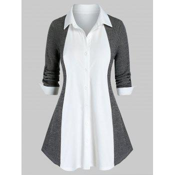 Plus Size Two Tone Knit Roll Up Sleeve Tunic Blouse