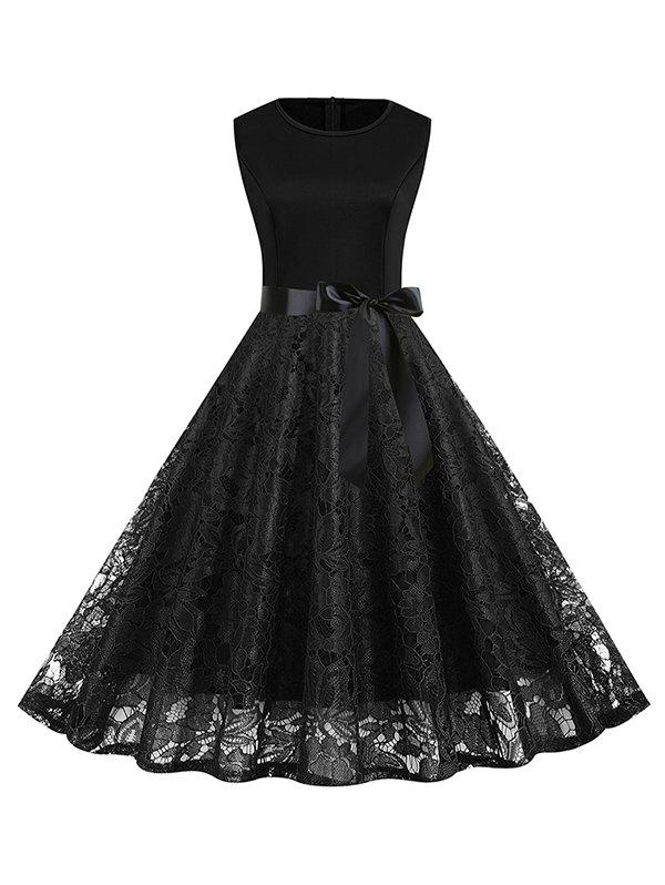 Belt Fit and Flare Lace Dress - BLACK 3XL