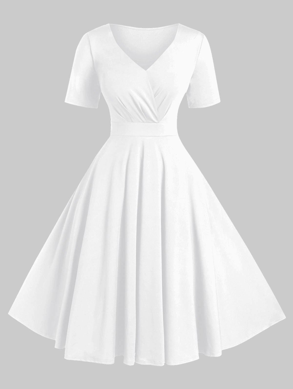 Plus Size Solid High Waist V Neck Vintage Dress - WHITE 4X