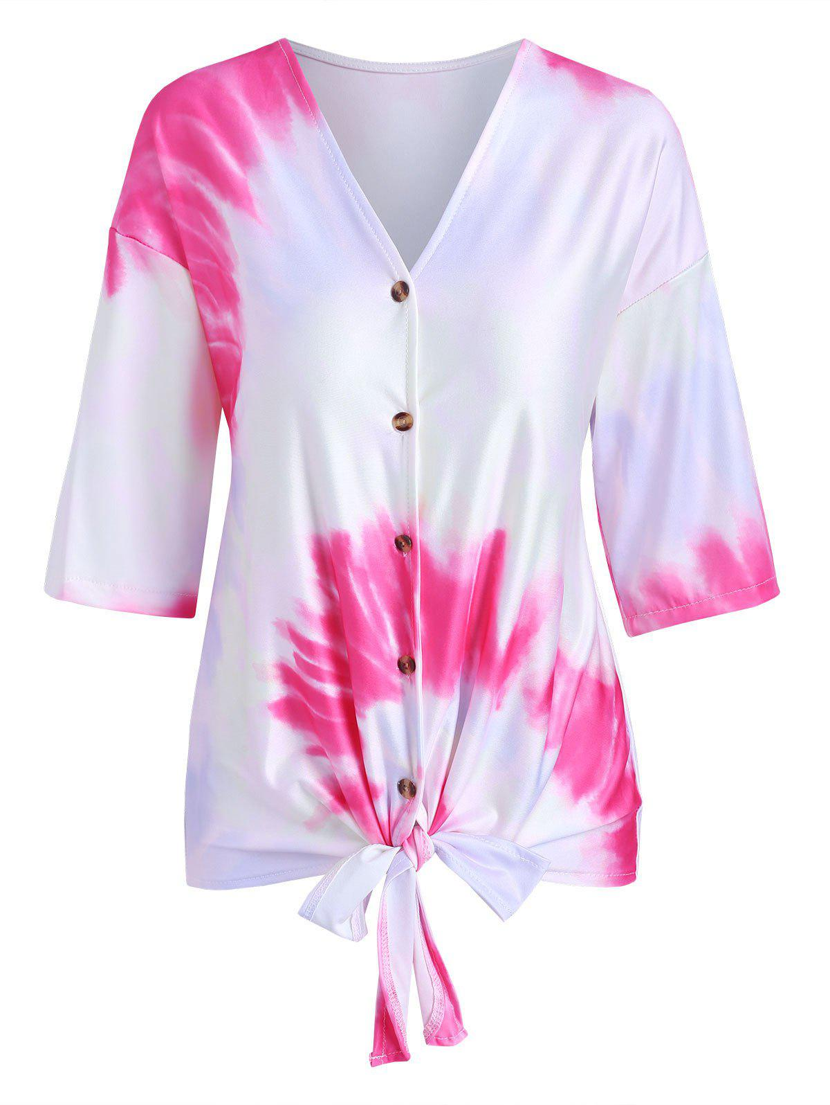 Tie Dye Print Knotted Button Up T-shirt - RED L