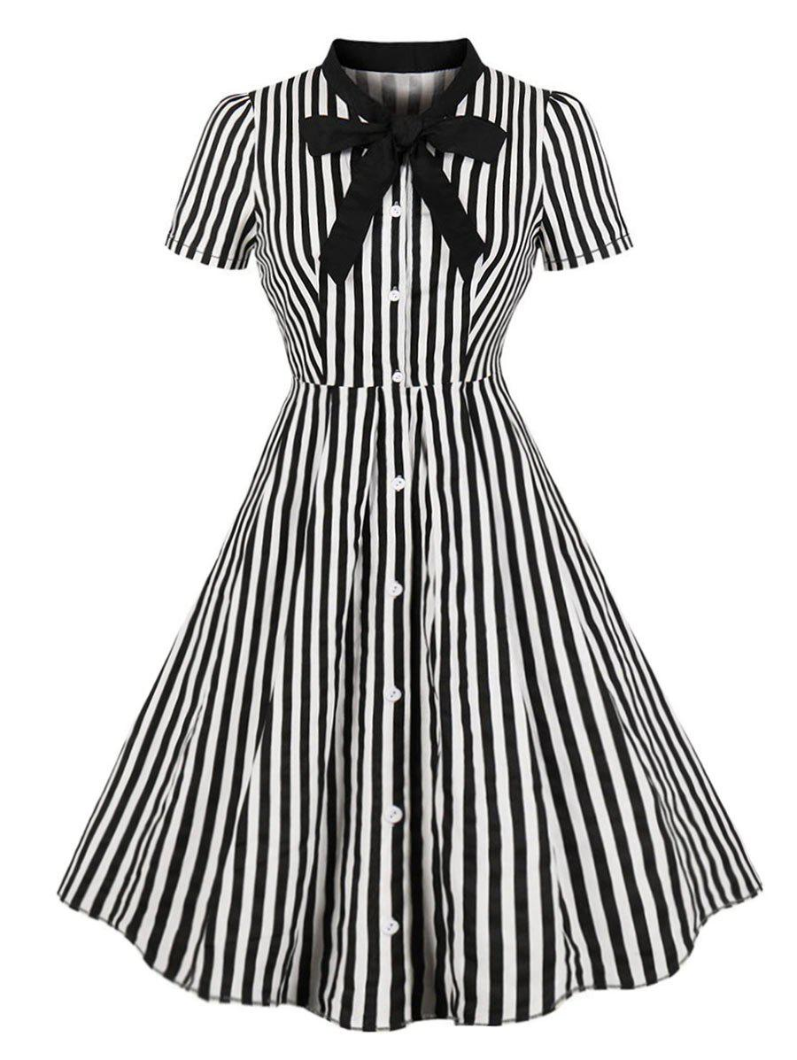 Plus Size Pussy Bow Striped Button Up Shirt Dress - BLACK 4XL