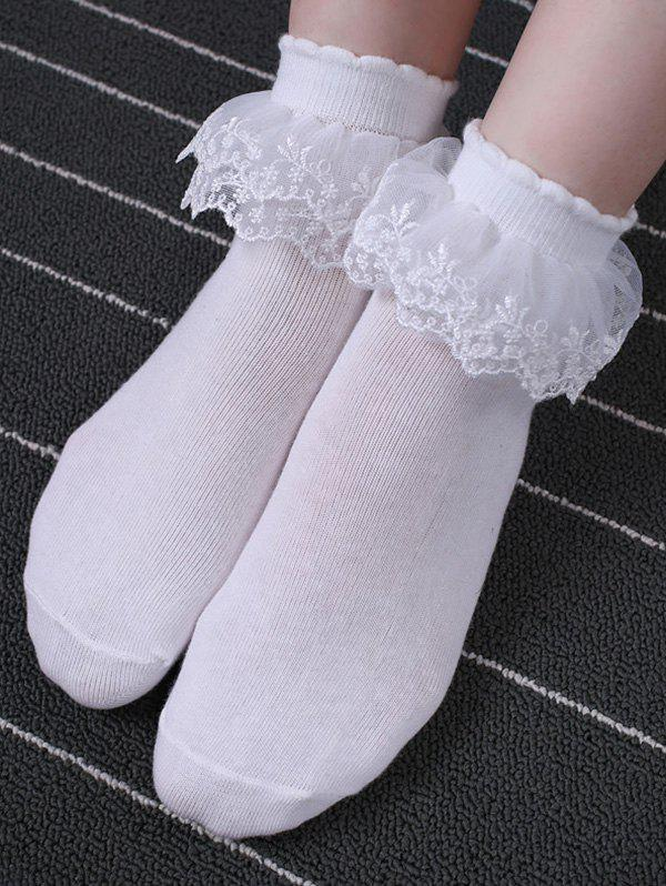 Layers Mesh Lace Cotton Anklet Socks - WHITE