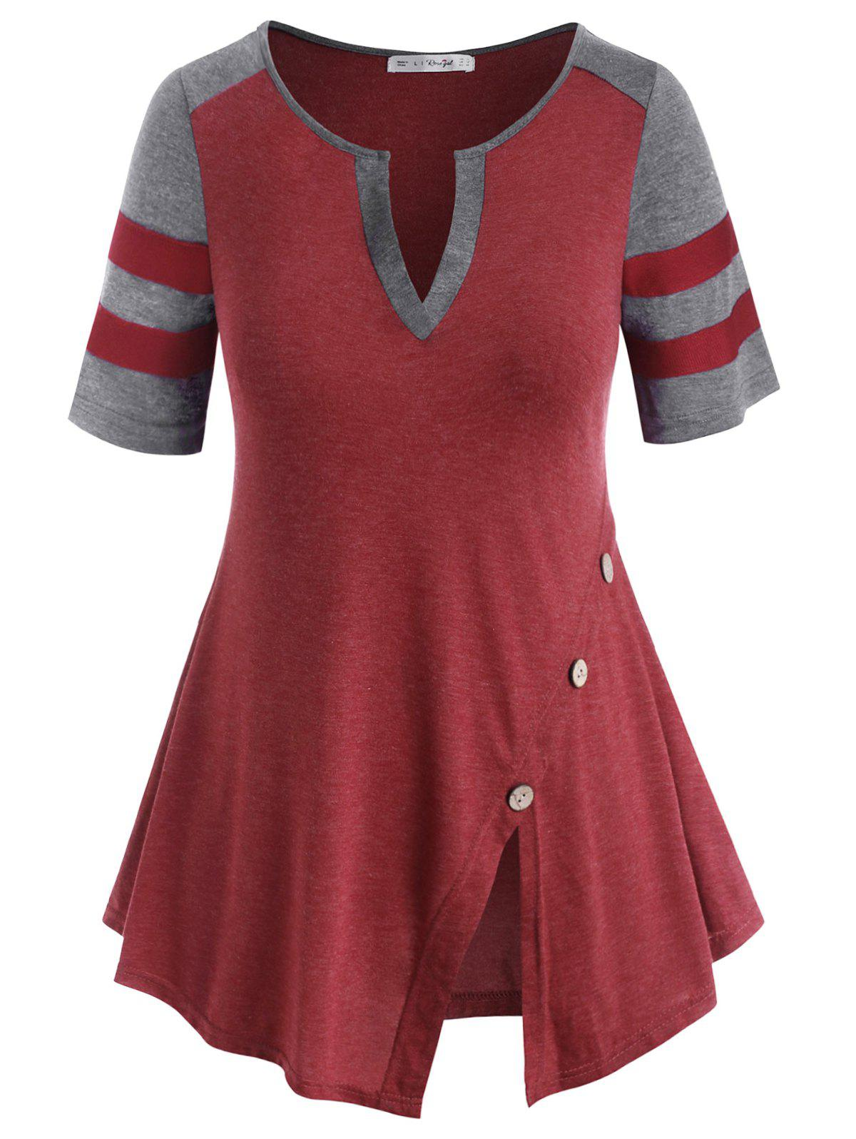 Colorblock Stripes Panel V-notched Buttoned Plus Size Top - RED WINE L