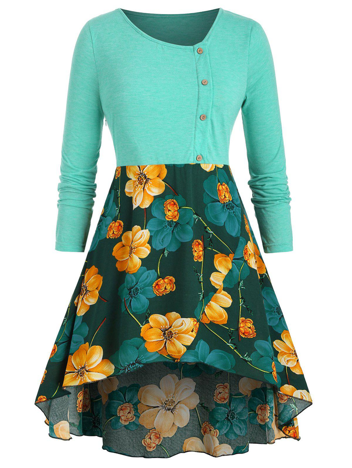 Mock Buttons Floral High Low Plus Size Top - GREEN 5X
