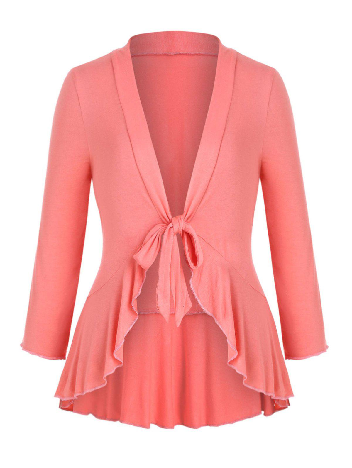 Knotted Solid Flounced Hem Plus Size Top - LIGHT PINK 2X