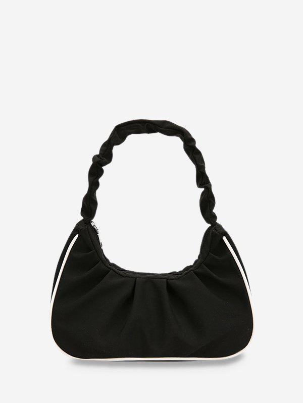 Ruched Nylon Piped Tote Bag - BLACK