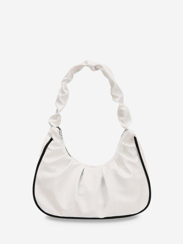 Ruched Nylon Piped Tote Bag - WHITE