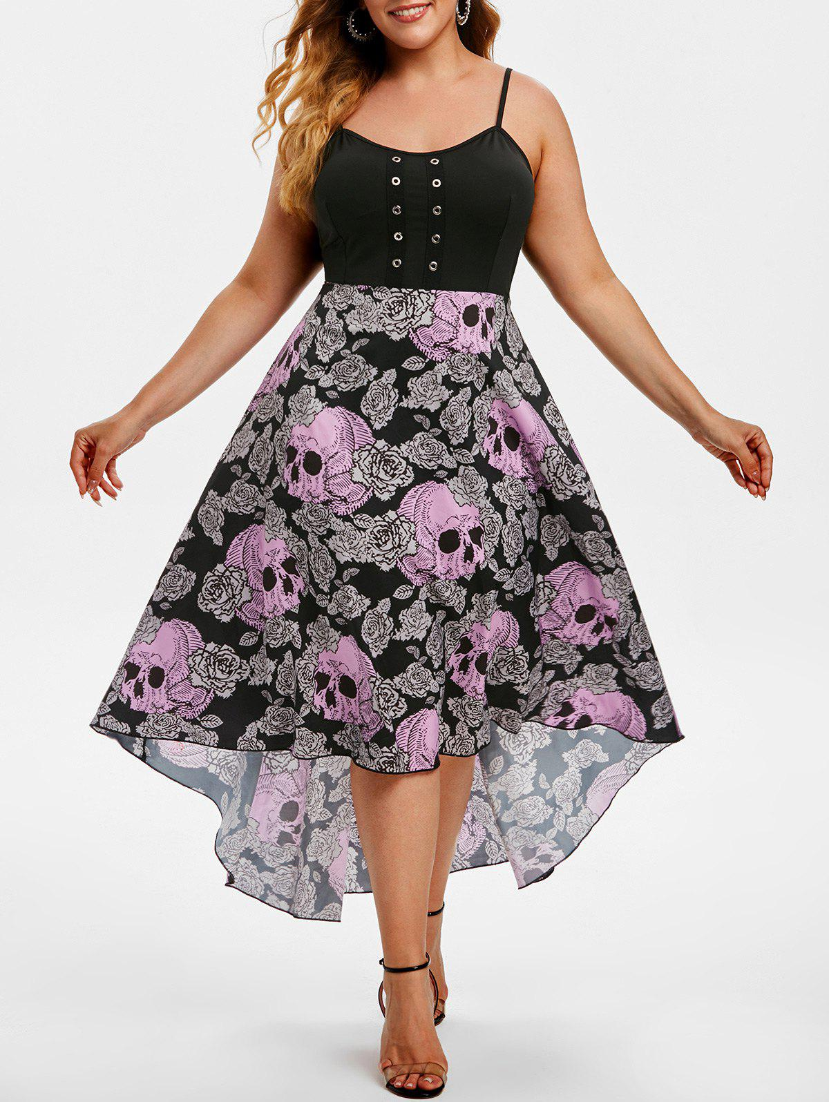 Grommet Floral Skull High Low Halloween Plus Size Dress - PURPLE 5X