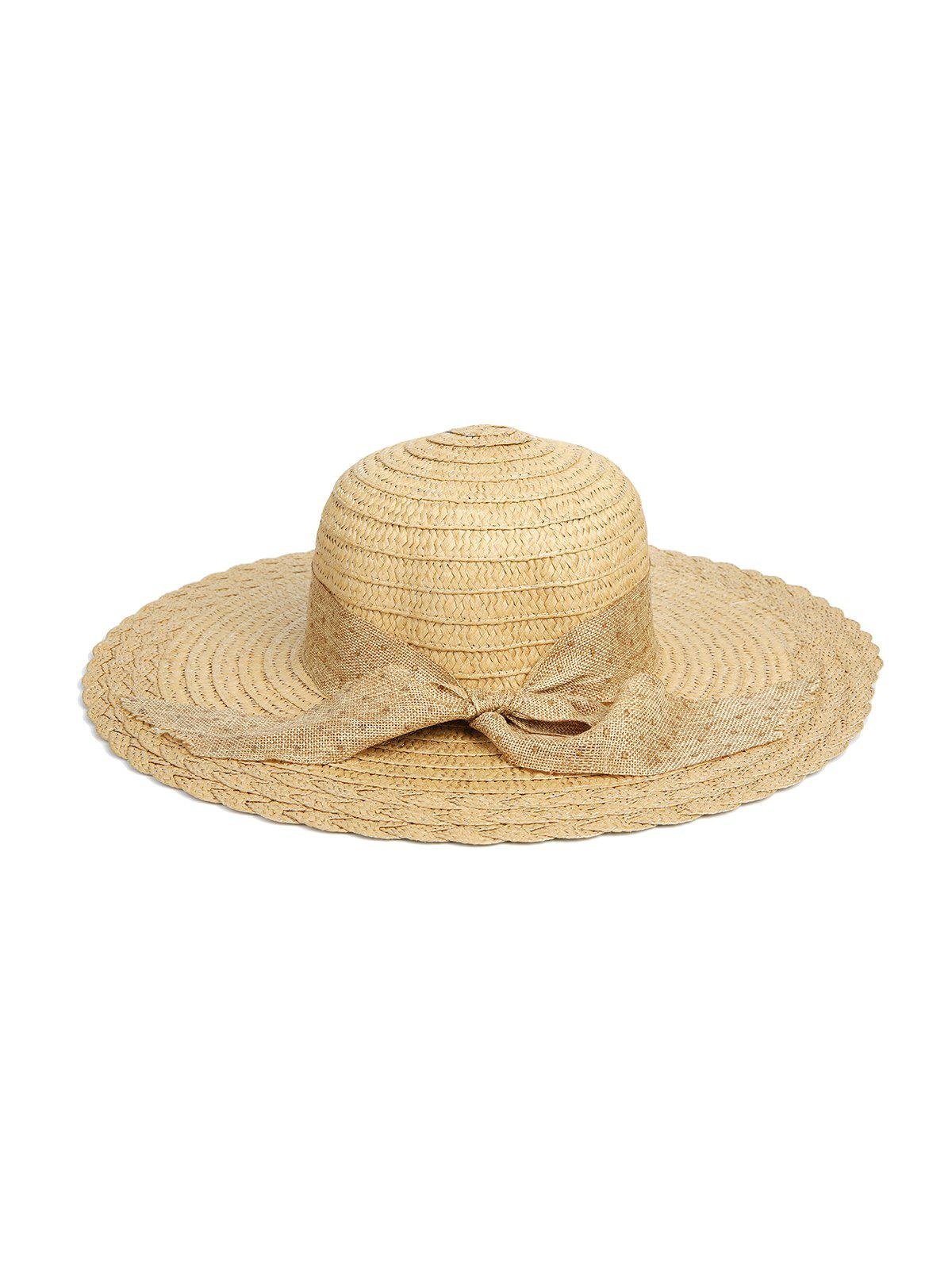 Beach Dots Ribbon Bowknot Straw Hat - LIGHT KHAKI