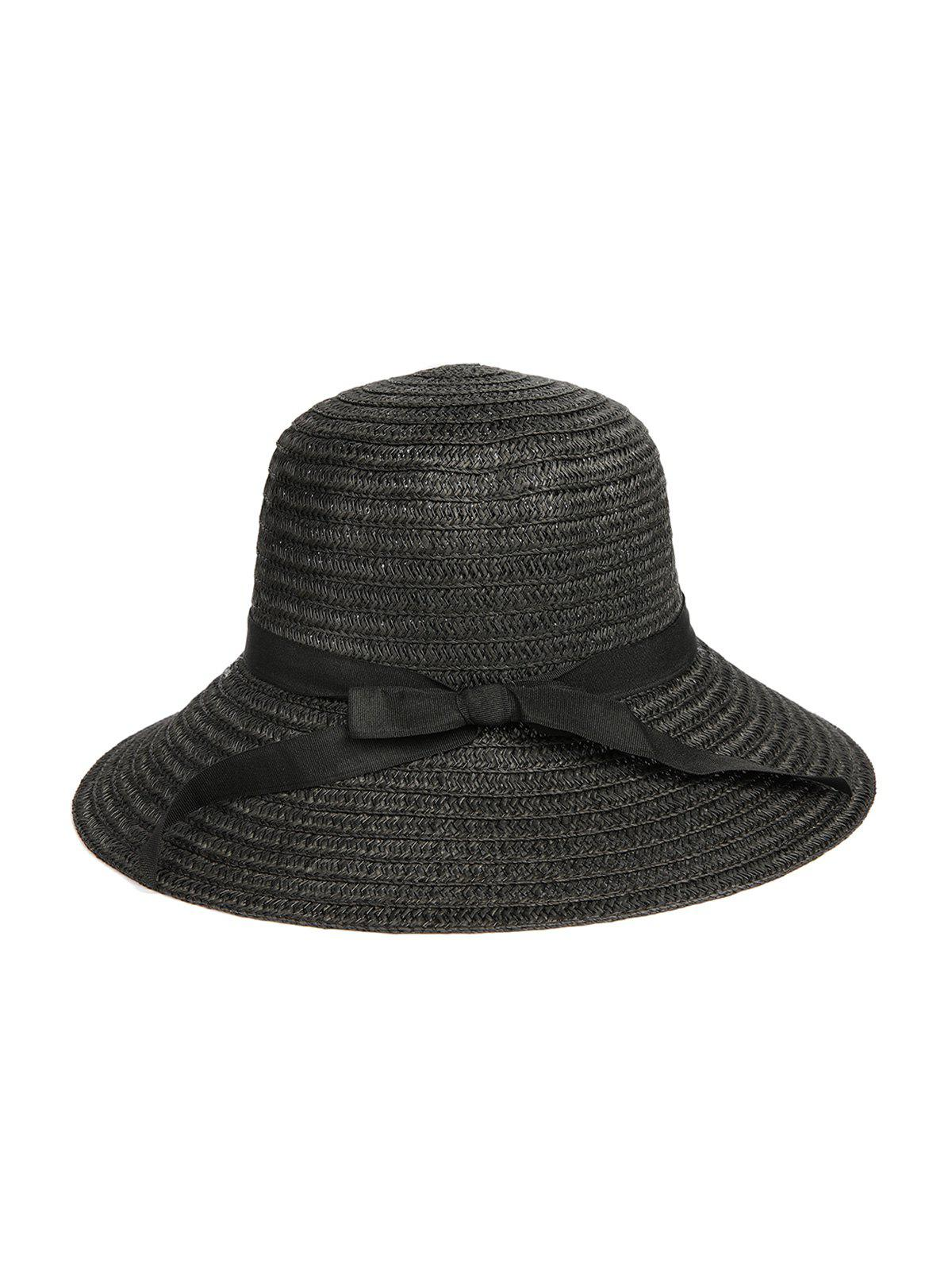 Ribbon Bowknot Sunproof Straw Hat - BLACK