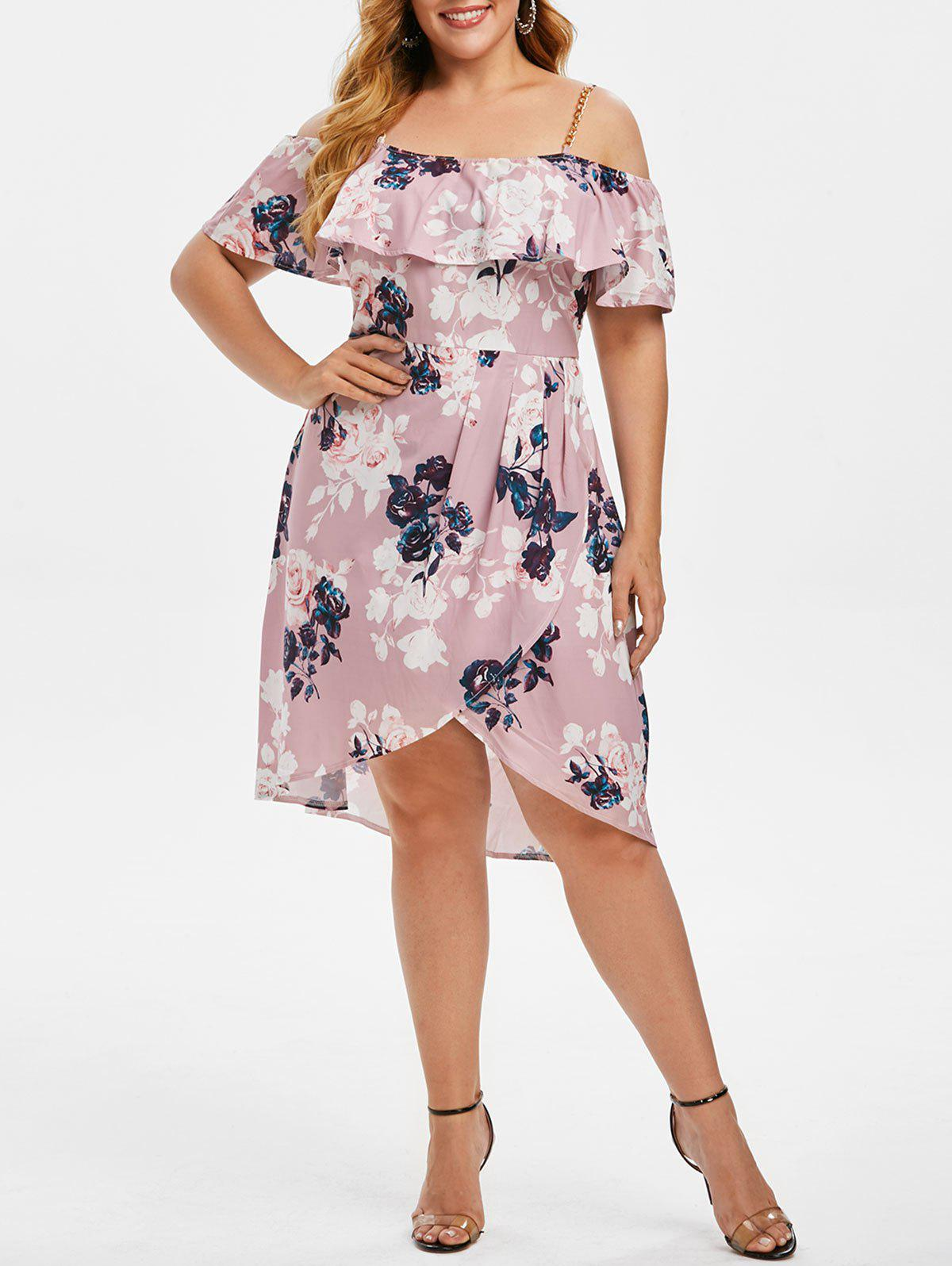 Plus Size Flower Print Cold Shoulder Flounce Tulip Dress - LIGHT PURPLE 1X