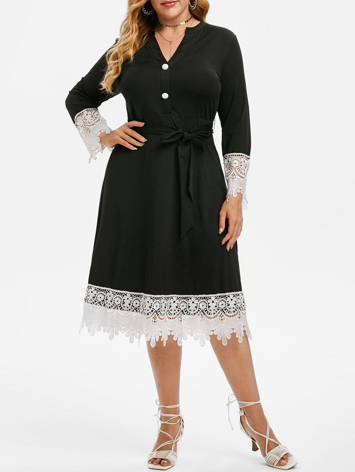 Plus Size Contrast Lace Midi Dress - BLACK 2X