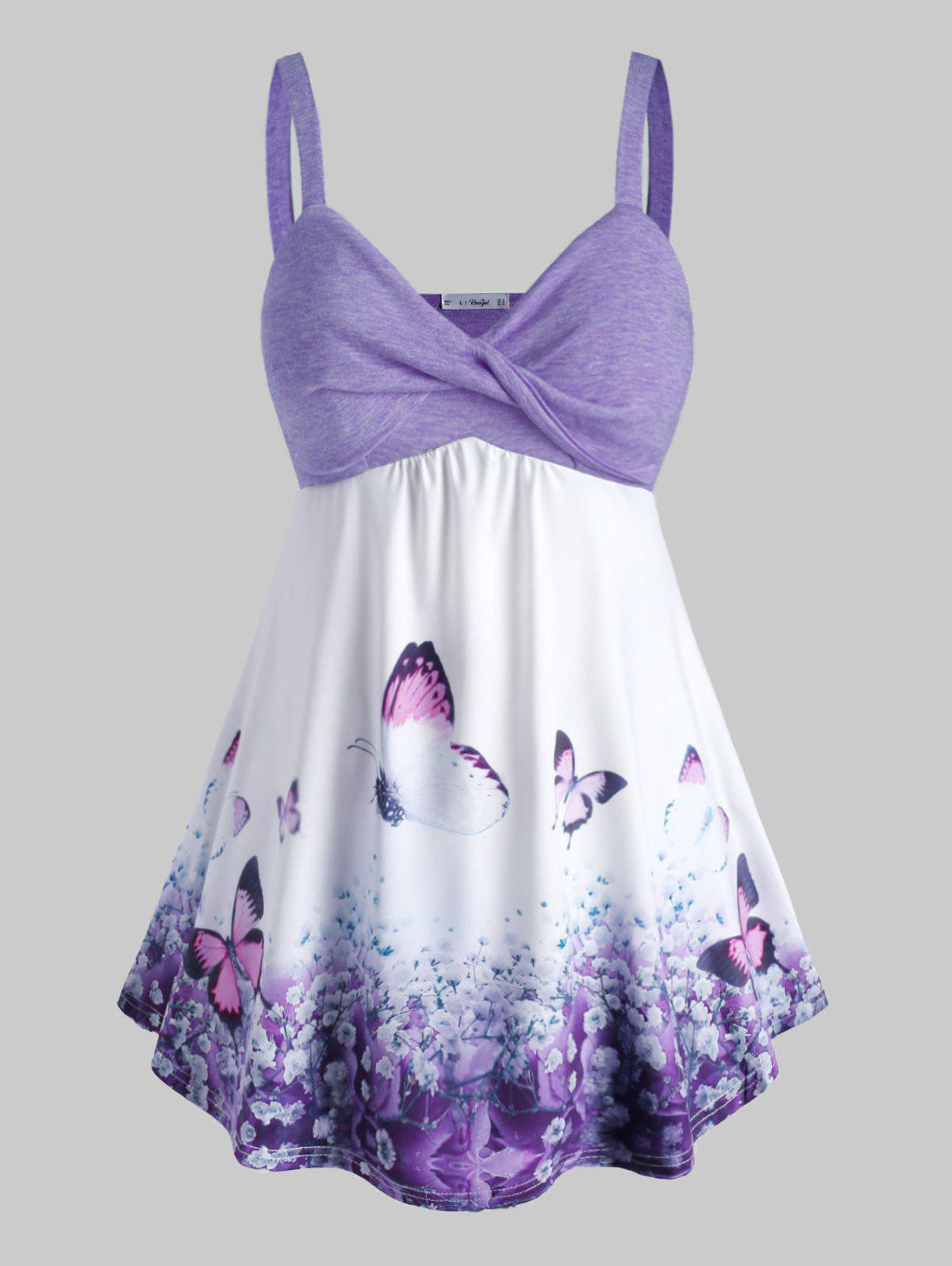 Plus Size Front Twist Butterfly Print Tank Top - PURPLE 3X