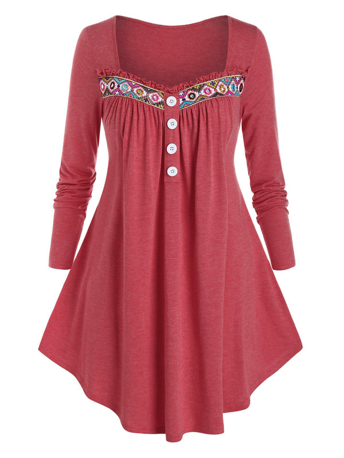 Plus Size Frilled Embroidered Long Sleeve Round Hem Tee - VALENTINE RED 3X
