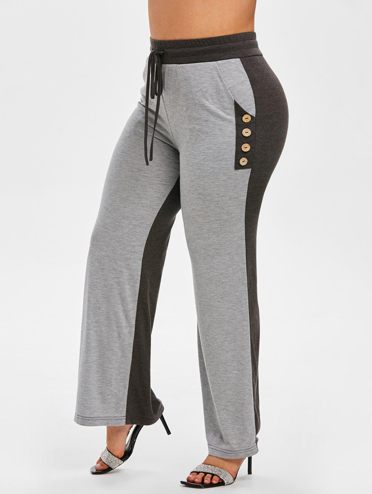Plus Size Drawstring Two Tone Pants - GRAY 4X
