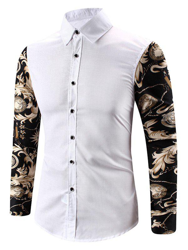 Baroque Chain Print Button Up Long Sleeve Shirt - WHITE S