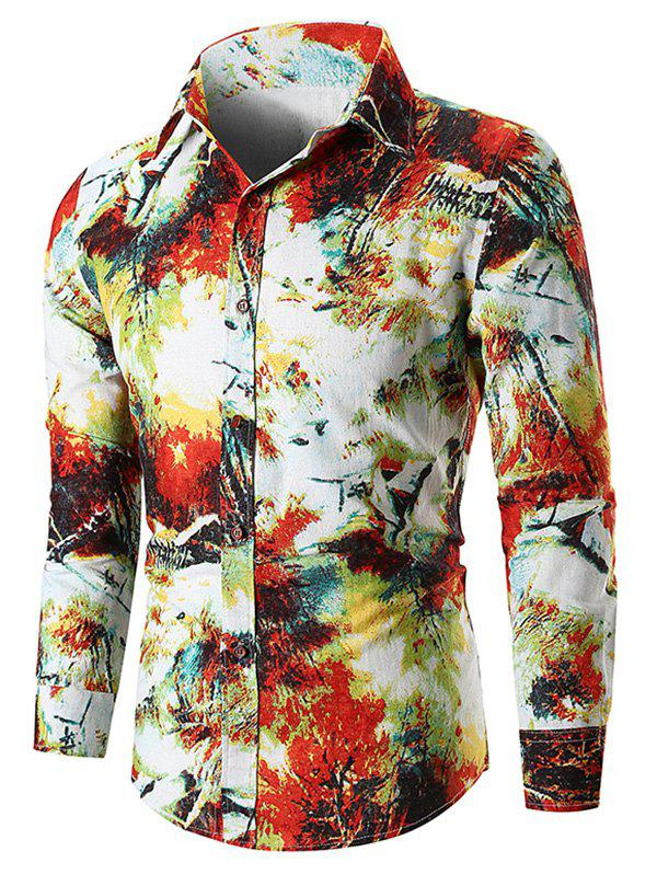 Watercolor Tie Dye Button Up Long Sleeve Shirt - RED S