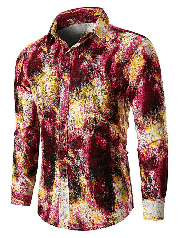 Tie Dye Button Up Linen Casual Shirt - RED 3XL