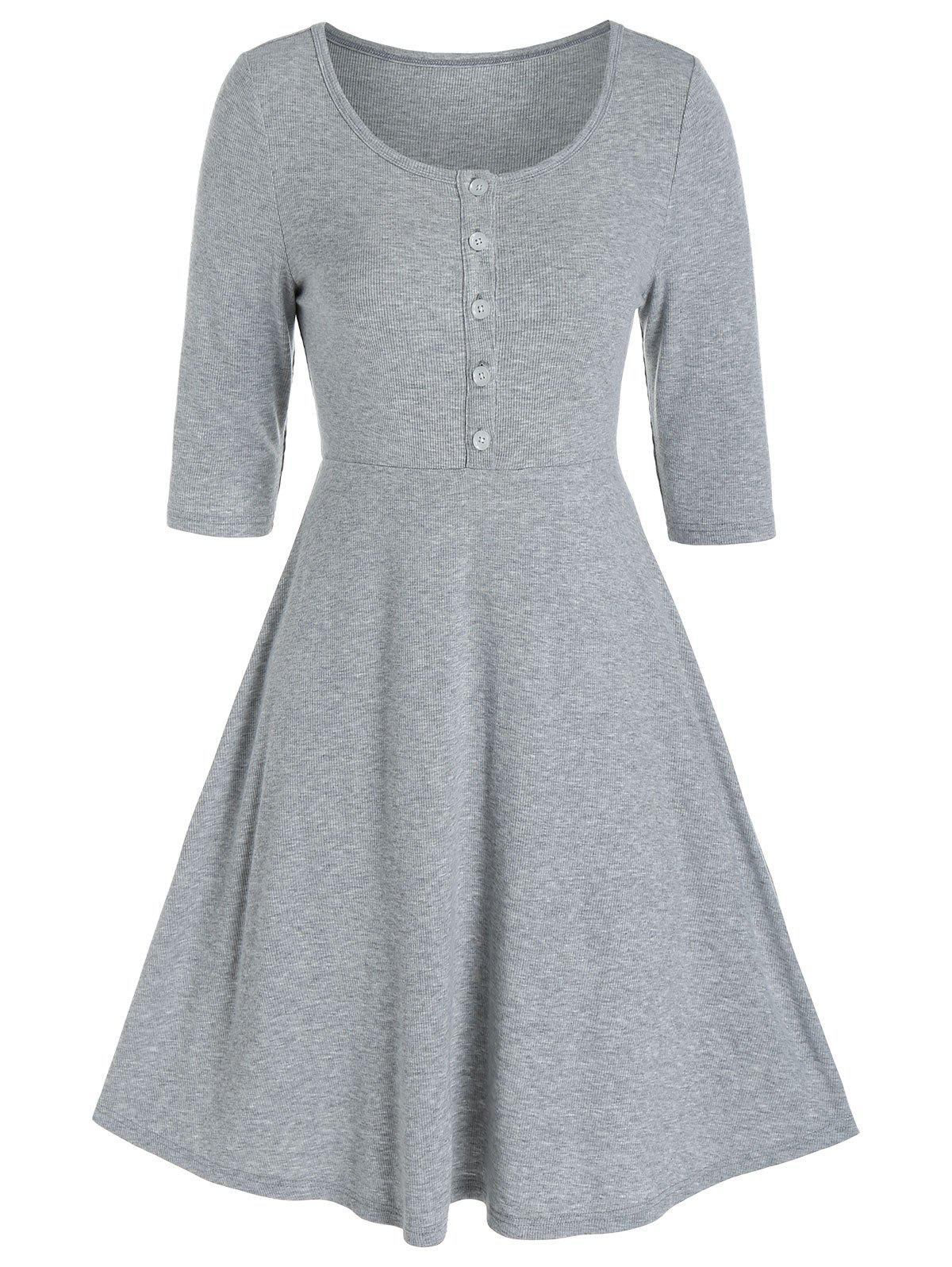 Half Button High Waist Knitted A Line Dress - LIGHT GRAY 3XL