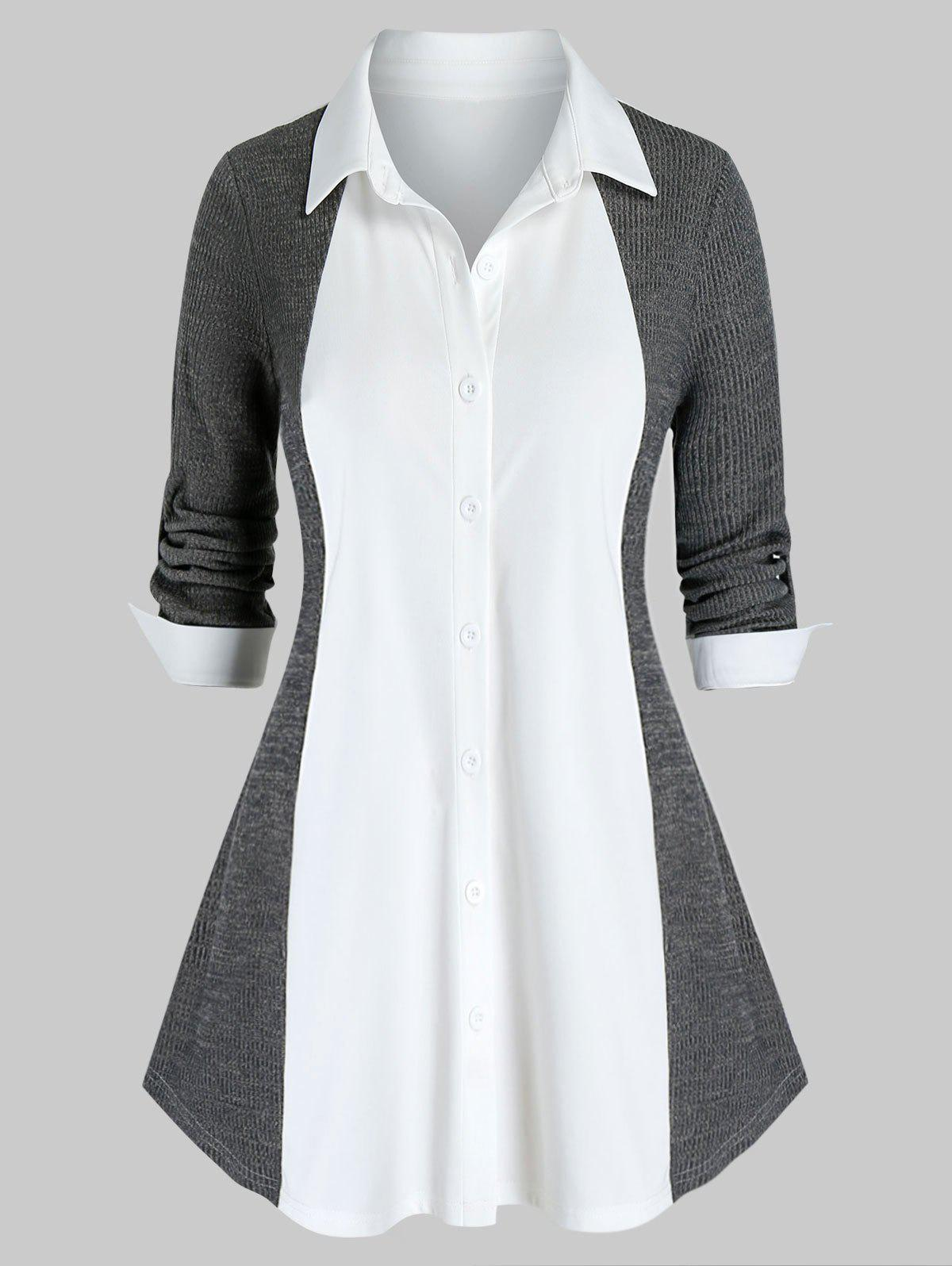 Plus Size Two Tone Knit Roll Up Sleeve Tunic Blouse - CARBON GRAY 3X