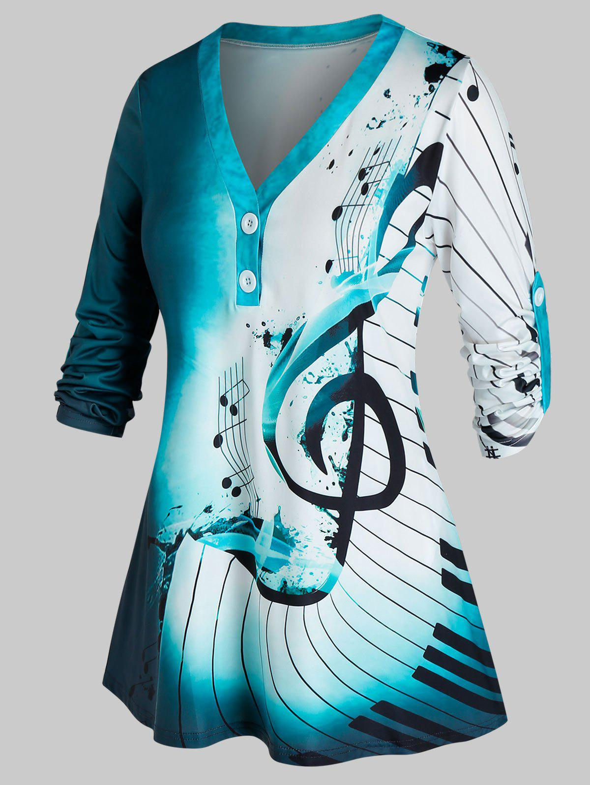 Plus Size Musical Notes Tie Dye Roll Up Sleeve Top - DEEP BLUE 2X