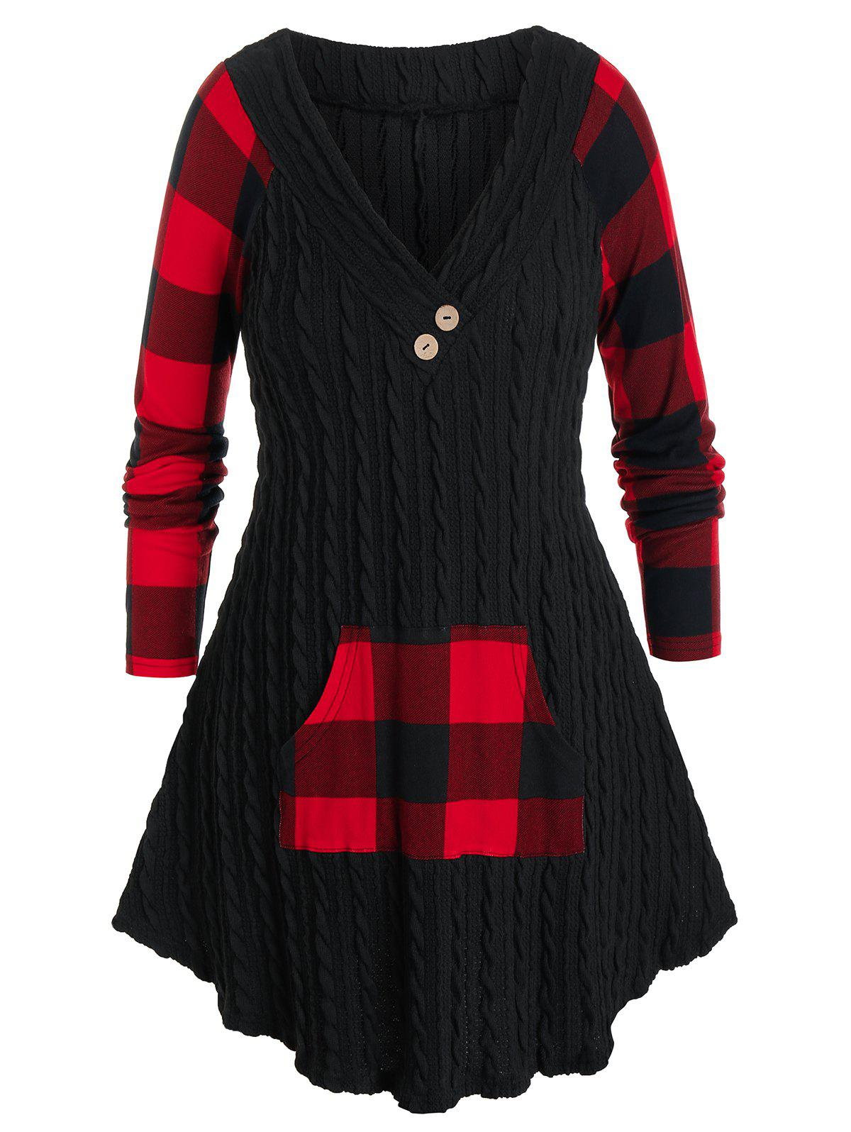 Plus Size Plaid Cable Knit Pocket Tunic Sweater - BLACK 5X
