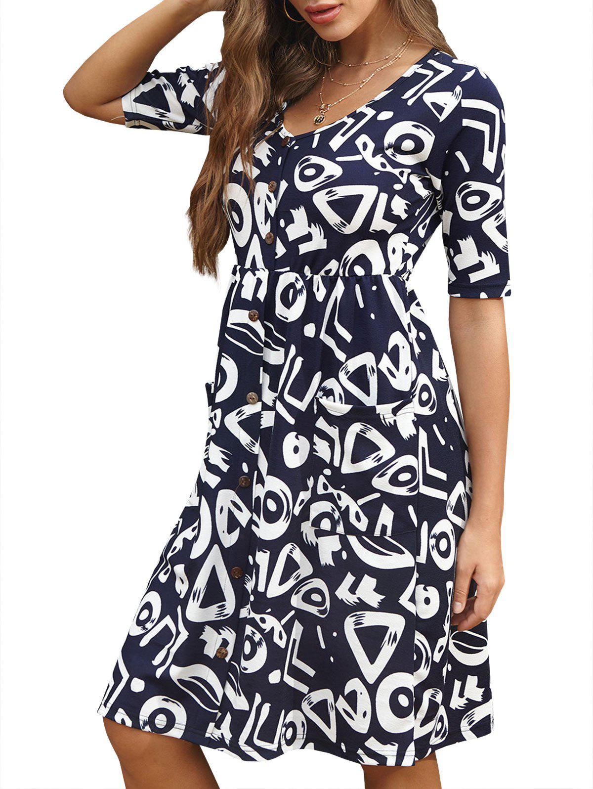 Mock Buttons Floral Printed A Line Dress - DEEP BLUE L
