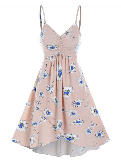 Floral Print Mini Cami High Low Dress