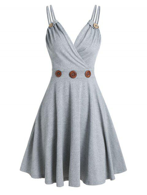 Strappy Mock Button Flare Dress
