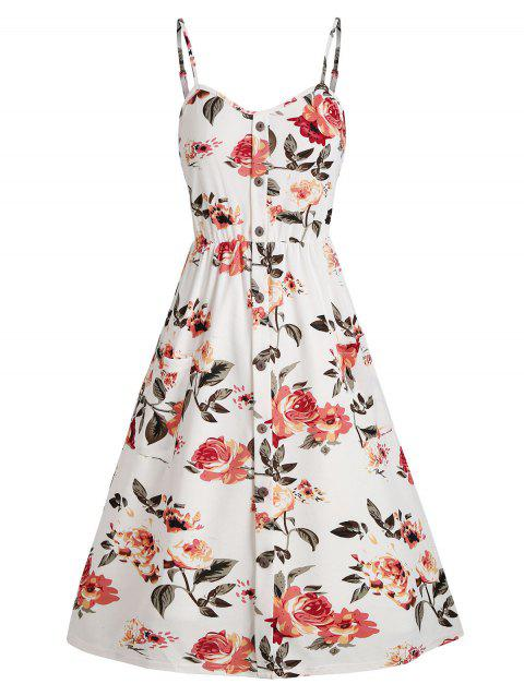 Floral Shirred Back Mock Buttons Sundress
