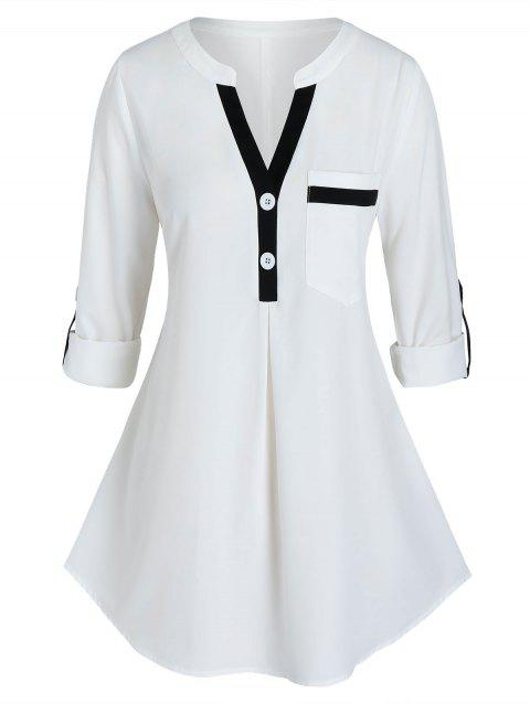 Plus Size Roll Up Sleeve Contrast Trim Blouse