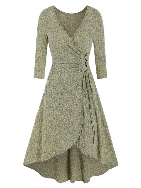 V Neck Tie Waist Knitted Wrap High Low Dress