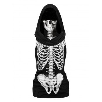 Plus Size Halloween Skeleton Print Hooded Tank Top