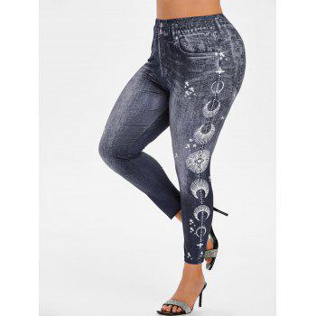 Plus Size 3D Print Star High Rise Jeggings