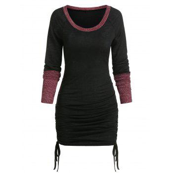Contrast Trim Drawstring Hem Knitted Bodycon Dress