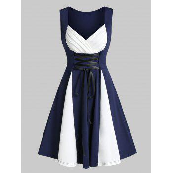 Sweetheart Neck Lace Up Sleeveless Vintage Dress