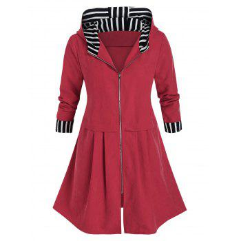 Plus Size Striped Hooded Zip Front Coat