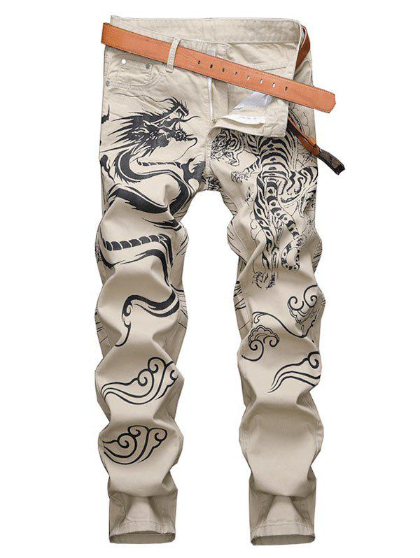 Animal Graphic Casual Denim Pants - TAN 32