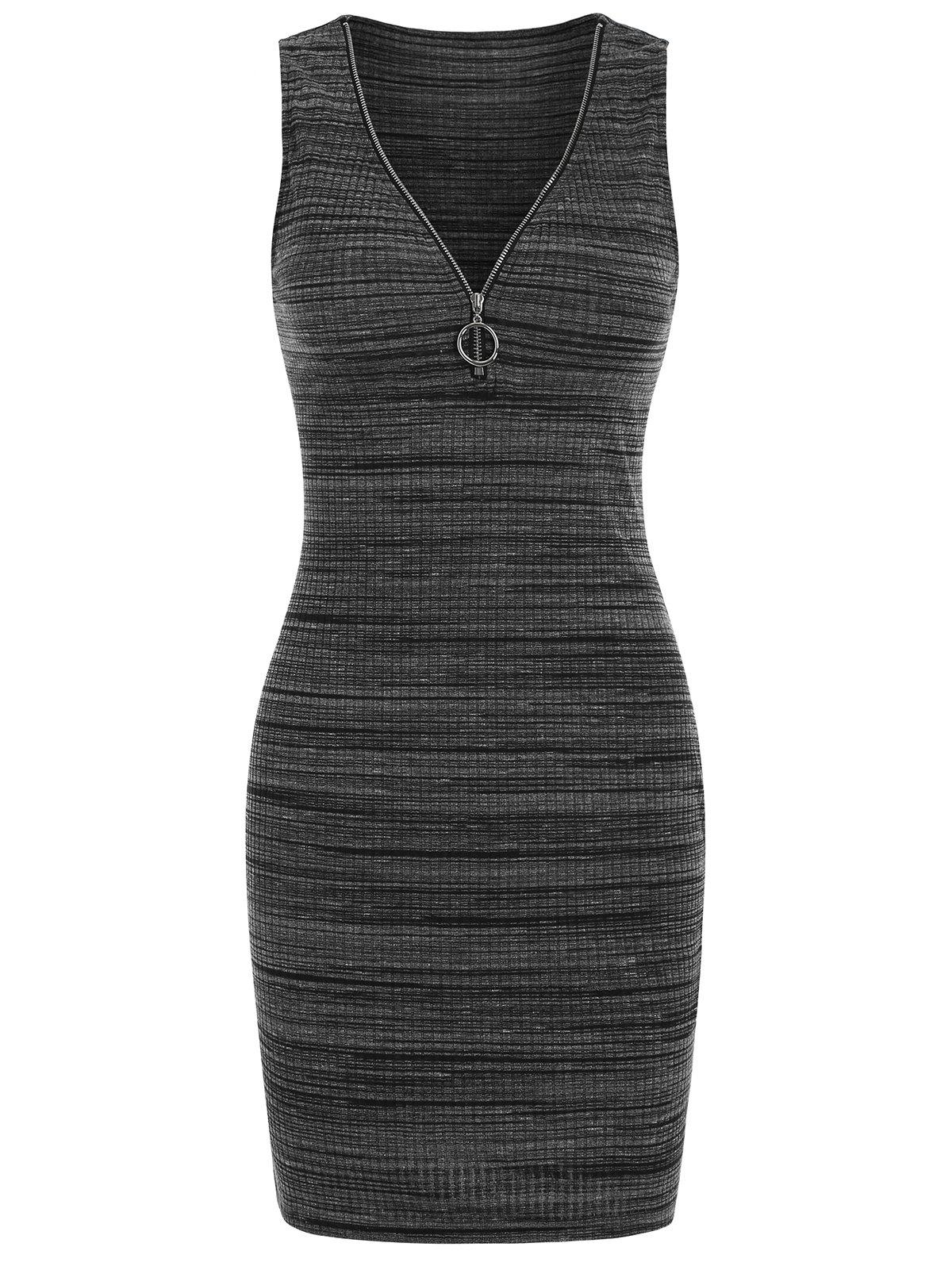 O-ring Pull V Neck Knitted Sleeveless Bodycon Dress - CARBON GRAY L