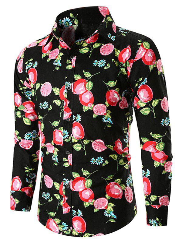 Allover Lemon Print Button Up Casual Shirt - BLACK L
