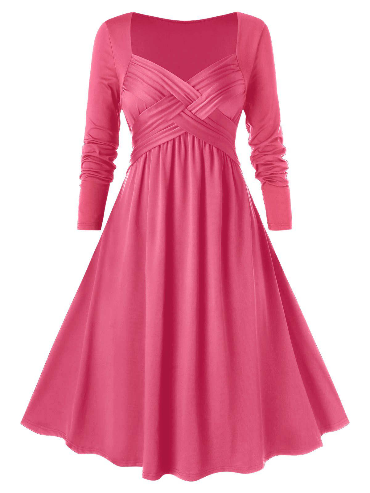 Plus Size Crossover Midi Flare Dress - HOT PINK 3X