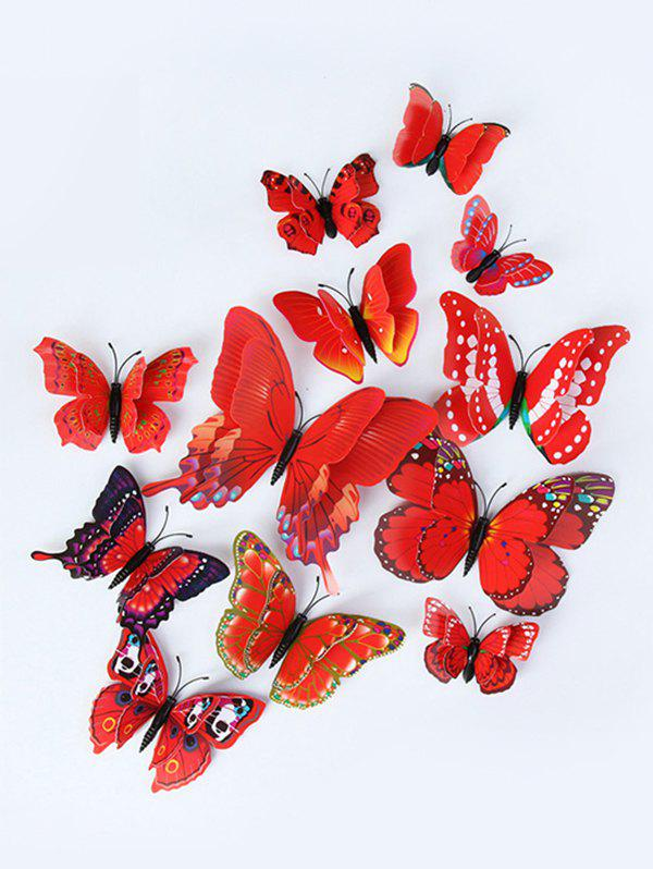 12 Piece 3D Butterfly Decorative Wall Stickers - RED 12PCS