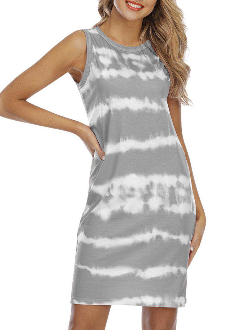 Tie Dye Knee Length Tank Dress - DARK GRAY L