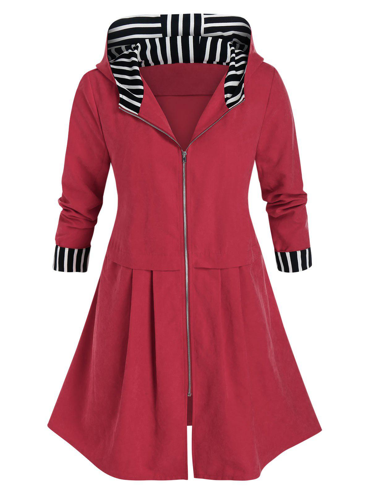 Plus Size Striped Hooded Zip Front Coat - CHERRY RED 5X