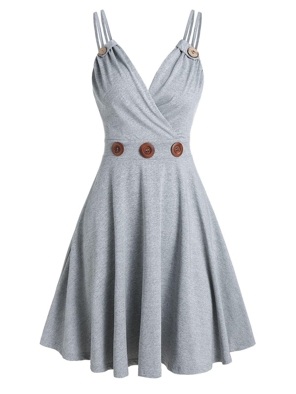 Strappy Mock Button Flare Dress - LIGHT GRAY L