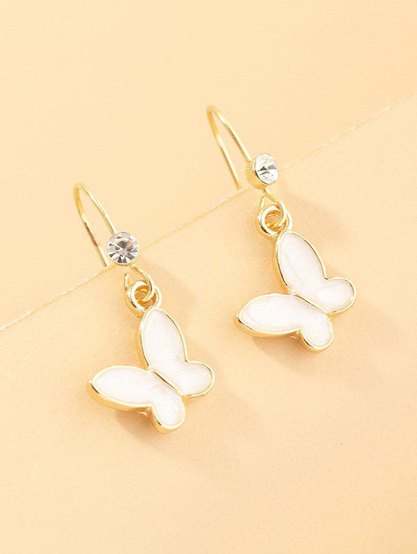 Butterfly Glazed Rhinestone Drop Earrings - WHITE
