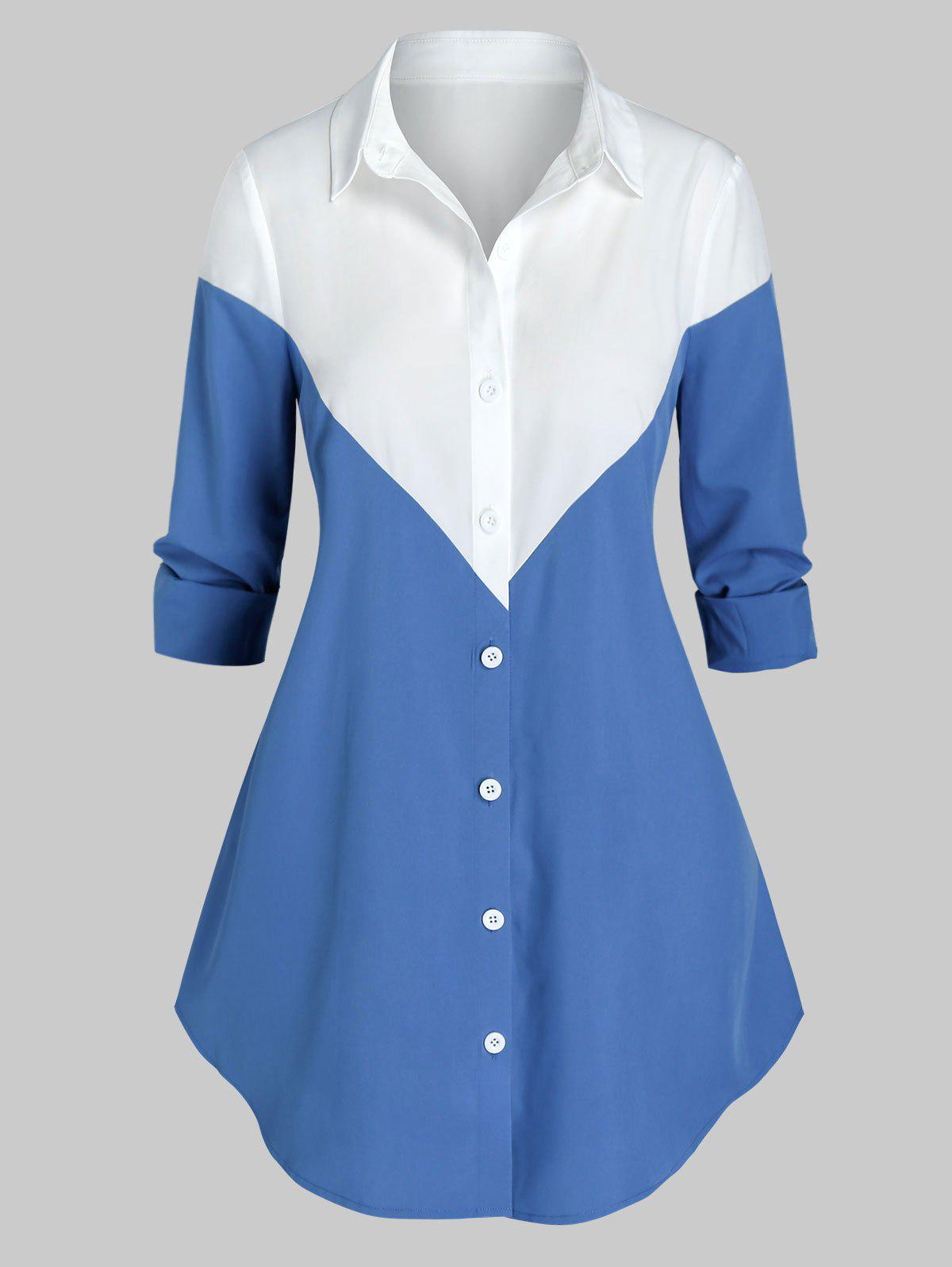 Plus Size Two Tone Curved Shirt - multicolor 3X