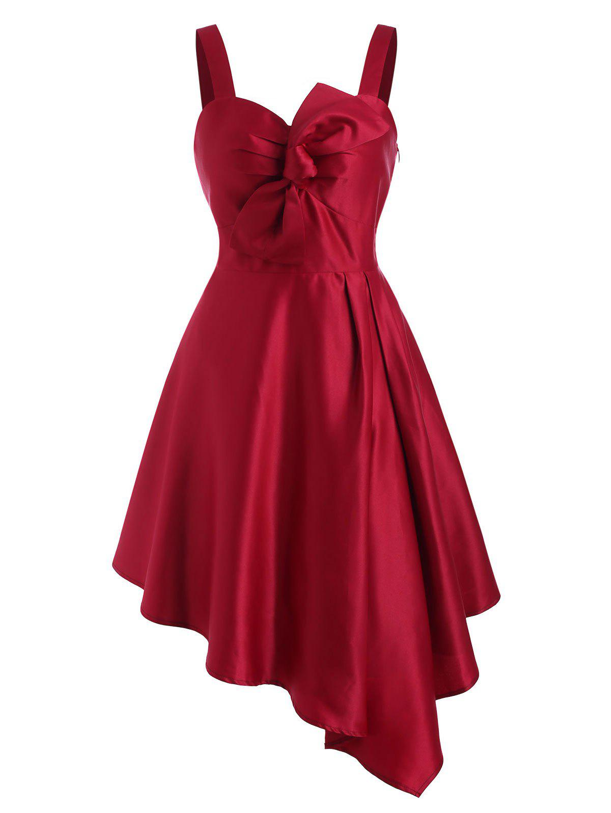 Bowknot Ruched Asymmetrical Dress - RED L