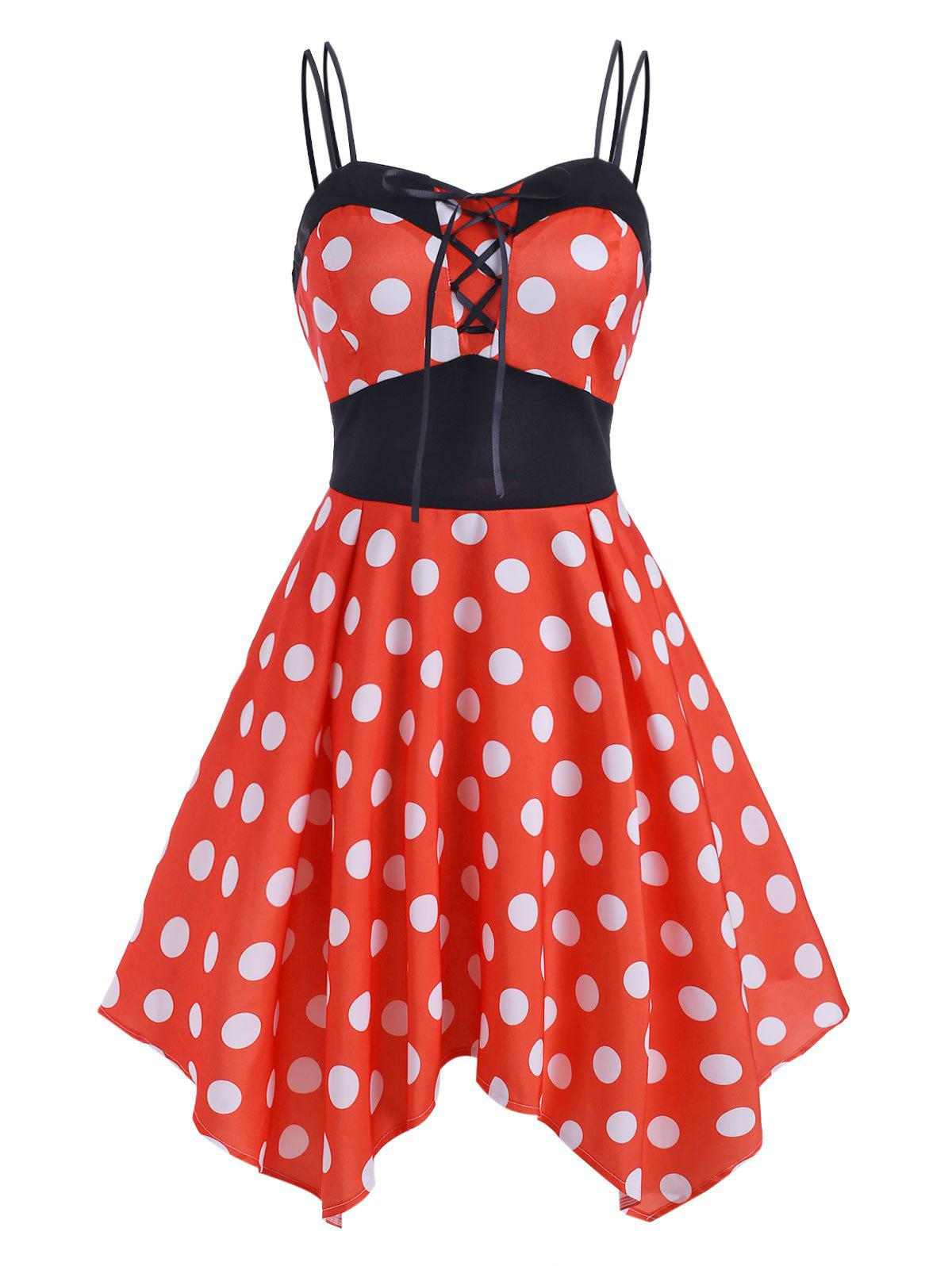 Lace Up Polka Dot Handkerchief Dress - RED 2XL