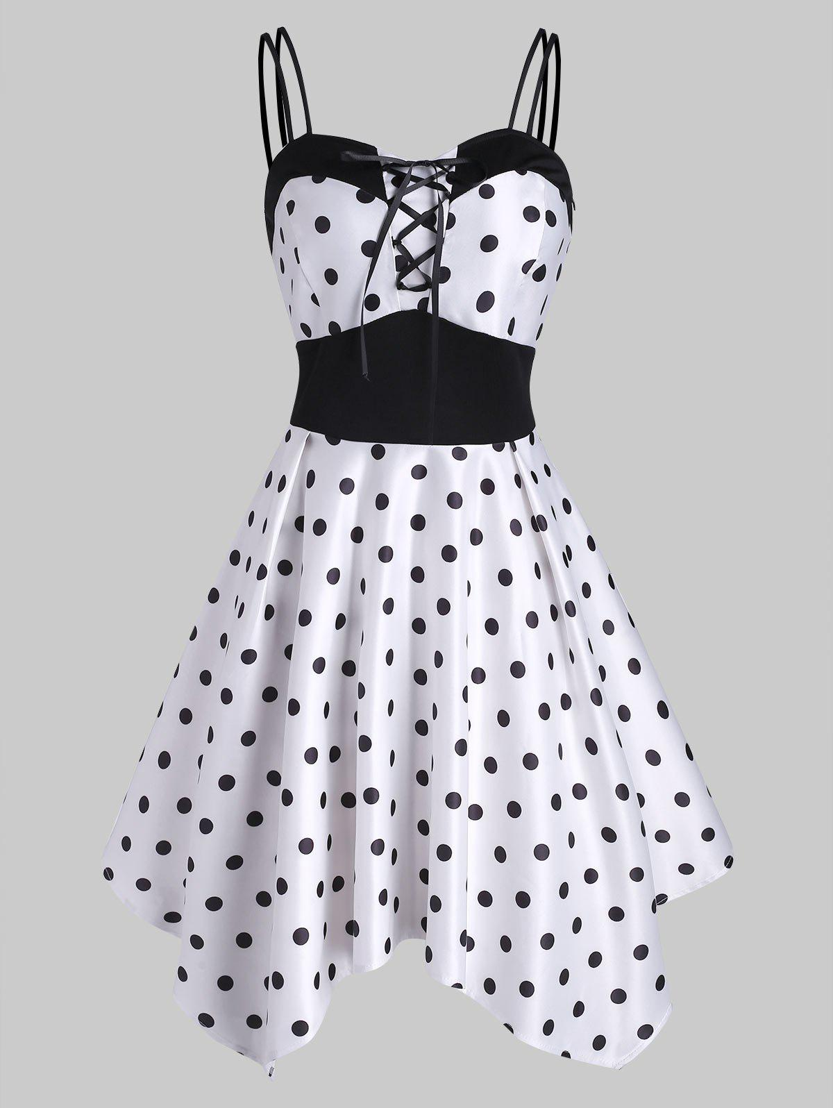 Lace Up Polka Dot Handkerchief Dress - WHITE M